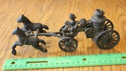 Cast Iron Fire Engine Truck Pumper Truck Wagon With Horses Vintage Hubley