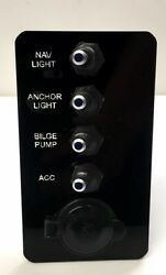 4 Gang Blue Lighted Toggle Switch Panel W/ 12v Outlet. Marine. Carling Techno...