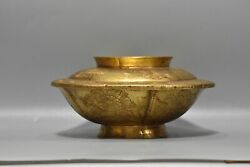 9 Chinese Ancient Antique Old Bronze 24k Gilt Flower Exquisite Covered Bowl