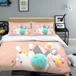 3d Sports Bowling Ball Pink Quilt Cover Sets Pillowcases Duvet Comforter Cover