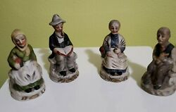 CAPODIMONTE FIGURINES GROUP OF OLD PEOPLE CROWN N MARK BISQUE