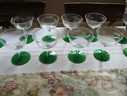 Set Of 8 Elegant Glass Clear Glass Sherbet Dishes With Forest Green Base