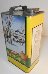 Vintage 1970and039s Pure Maple Syrup Empty One Gallon Tin Yellow