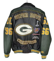 Green Bay Packers Sz Large Nfl Licensed Leather Jacket 4x Super Bowl Champions