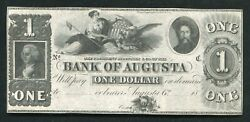 1800's 1 Bank Of Augusta Georgia Obsolete Banknote Remainder Uncirculated B