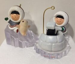 Frosty Friends Hallmark Ornaments 11 And 23 1990 2002 Penguin Igloo Seal