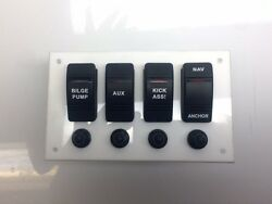 Marine Grade Acrylic Panel With 4 Rocker Switches 4 Switch Cover 4 Push To ...