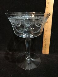 Fostoria Sherman Champagne/tall Sherbet Crystal Antique Needle Etch 5 High