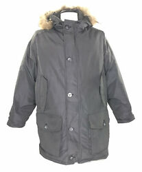 Woolrich Menand039s Arctic Parka 21110 Down Filled Coyote Fur Ruff Gray Vintage 90s M