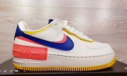 Nike Womenandrsquos Af1 Shadow Air Force 1 White Blue Pink Yellow Ci0919-105 Pick Size