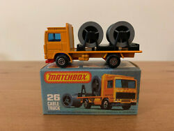 Matchbox Superfast 26 Volvo Cable Truck Rare Red Base And Mixed Wheels