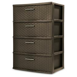 4 Shelves Plastic Drawer Wide Weave Tower Home Office Dorm Storage Organization