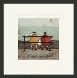 Sam Toft Mounted Framed Print - Bums On Seat - 3 Frame Choices - 30x30 Cm Print
