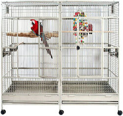 Large Double Macaw Parrot Cockatoo Bird Breeder Pet Cage W/ Divider Pure White