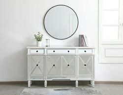 Antique White Mirrored Credenza Buffet Sideboard 4 Doors 3 Drawers 60 Cabinet
