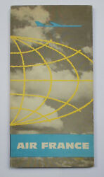 1959 Air France North Hemisphere Route Map Folder Excellent Condition