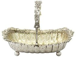 Antique Victorian Sterling Silver Basket By James Dixon And Son Sheffield 1897