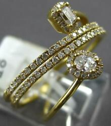.50ct Diamond 18kt Yellow Gold Round Baguette And Oval Multi Row Criss Cross Ring