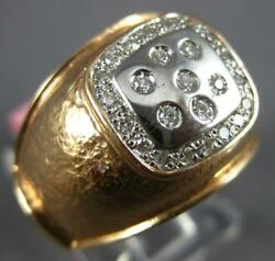 Estate Wide .20ct Diamond 14k White And Rose Gold Etoile Flower Matte And Shiny Ring
