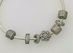 7 Piece Lot Authentic Silver Pandora Bead Cz Pave Charm Spacers Floater Clips