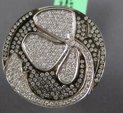 Extra Large 2.89ct Diamond 18kt White And Black Gold 3d Flower Circular Fun Ring