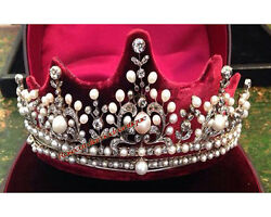 Vintage Hand-made 15.14ct Rose Cut Diamond And Silver Pearl Engagement Tiara Crown