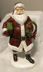 Santa Red White Tabletop Resin Vintage Look. Wreath And Gift 10quot; NWT