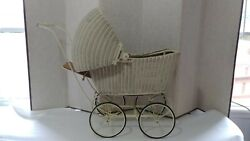 Antique Rare Vintage 1917 Lloyd Loom Products Wicker Doll Baby Buggy Carriage