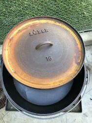 Lodge 16 Cast Iron Discontinued Camp Dutch Oven Cracked