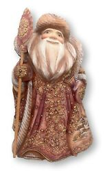 """13"""" Tall Russian Santa Wood Handcarved Handpainted Father Frost Unique Artwork"""