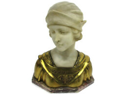 Bust Marble Alabaster Young Woman Victorian Antique Art Deco Signed A. Trefoloni