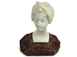 Bust Marble Alabaster Young Woman Victorian Antique Art Deco Signed Two Toned