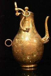 12.9 Antique Chinese Old Dynasty Bronze 24k Gilt Scenery Dragon Mouth Teapot