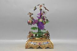 8.5 China Qianling Mark 24k Gilt Fei Cui Jade Carved Flower Butterfly Statue