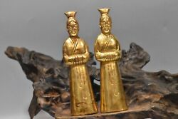 4.5 China Antique Old Dynasty Bronze 24k Gilt A Pair Exquisite Maid Statue