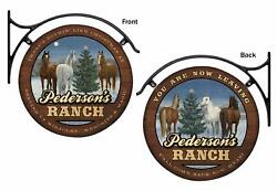 Welcome To The Ranch - Horses Personalized Hanging Tin Signs By Persis Clayton W