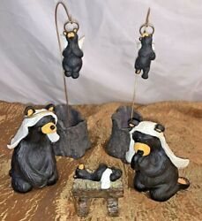 Bearfoots Collectible 7-piece Black Bears Nativity Set By Jeff Fleming-retired