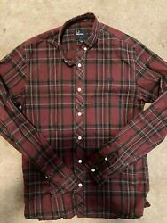 Fred Perry Button Down Slim Small Burgundy Plaid $20.00