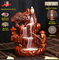 Ceramic Backflow Incense Cone Burner Moutain Waterfall Fy035 And 60pcs Cones Gift