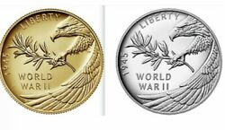 End Of World War Ii 75th Anniversary 24-karat Gold Coin And Silver Medal In Hand