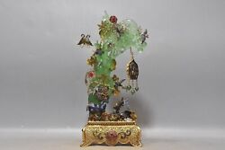 10.2 Chinese Old 24k Gilt Fei Cui Jade Handcarved Butterfly Flower Deer Statue