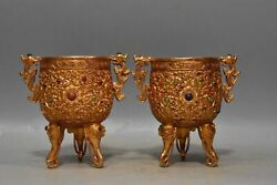 5.7 Old Chinese Qing Dynasty Bronze 24k Gilt Gem Inlay Double Ear Flower Teacup