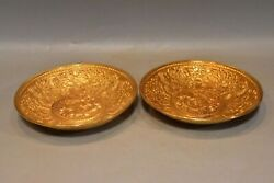 7.1 China Antique Old Dynasty Bronze 24k Gilt A Pair Lotus Flower Fish Plate