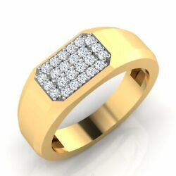 18k Yellow Gold 0.27 Ct Real Diamond Wedding Menand039s Rings Size 8 9 10 Certified