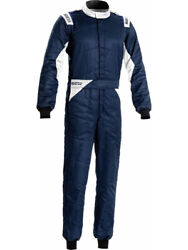 Sparco Sprint Driving Suit Dual Layer Cotton Navy White Large 00109256bmbi