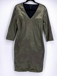 SARAH PACINI Women#x27;s Metallic Sheen Pewter Evening Dress Size 2 M $89.00