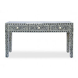 Handmade Antique Bone Inlay Black Floral Solid Wood Console Table 3 Drawer