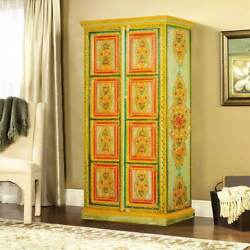 Handmade Hearts And Flowers Hand Painted Mango Wood 2-door Armoire Cabinet