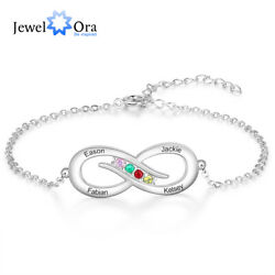 Personalized Women Charm Infinity Bracelets Anklet Engraved Names Birthstones $10.99