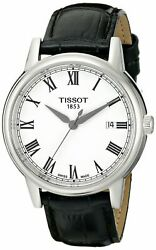 Tissot Menand039s Carson White Dial Black Leather Watch - T0854101601300 New